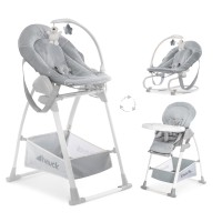 Sezlong Sit n Relax 3in1 Hauck, scaun de masa inclus, 0 luni+, Stretch Grey