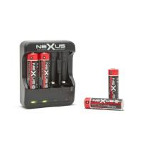 Incarcator acumulatoare Nexus, 4 x AA/AAA, 300 mA, cablu  500 mm, afisaj LED, Negru