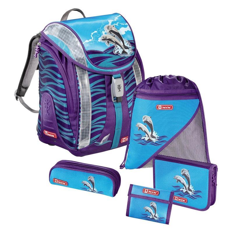Ghiozdan Happy Dolphins Step By Step Junior, 5 piese 2021 shopu.ro