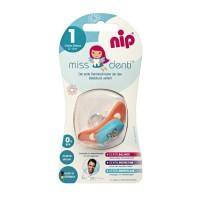 Suzeta silicon Miss Denti Nip, 0-6 luni, marimea 1