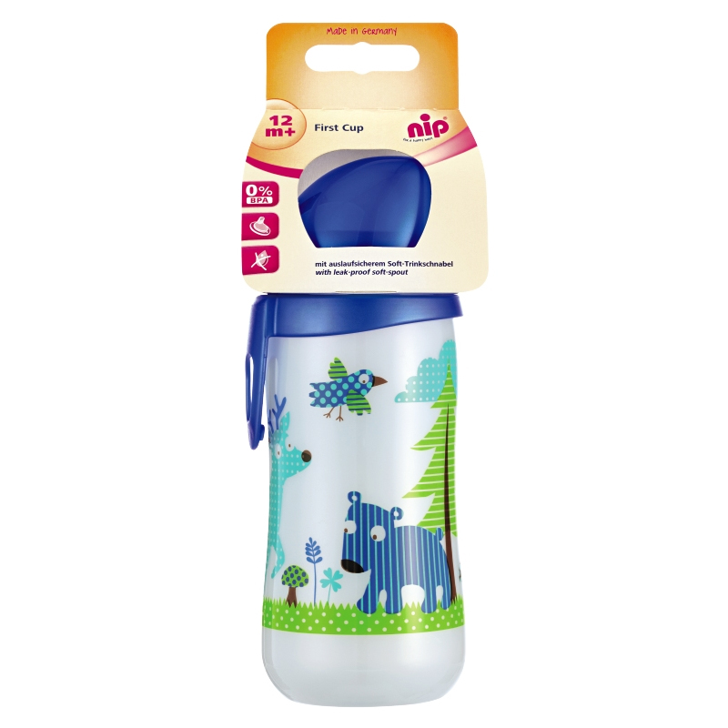 Cana cu clip prindere First Cup Boy Nip, 330 ml, 12 luni+ 2021 shopu.ro