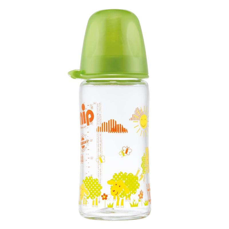 Biberon sticla cu gat larg Nip, 240 ml, numarul 1, Verde 2021 shopu.ro