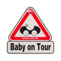 Semn de masina Baby on Tour Reer, Alb/Rosu