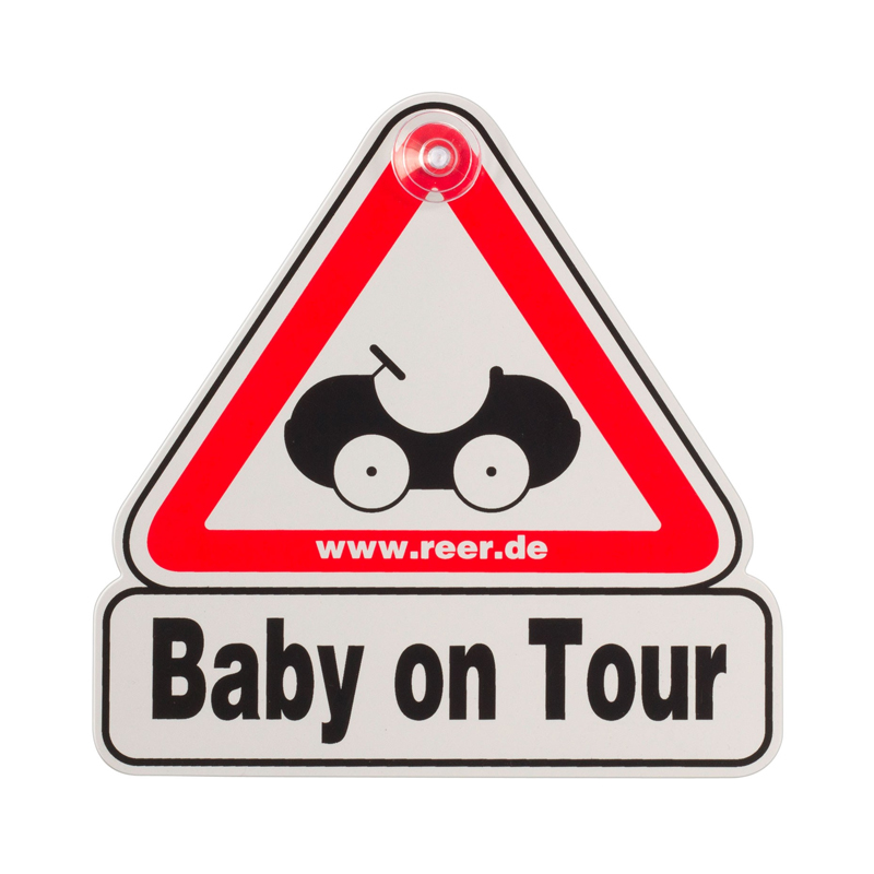 Semn de masina Baby on Tour Reer, Alb/Rosu 2021 shopu.ro