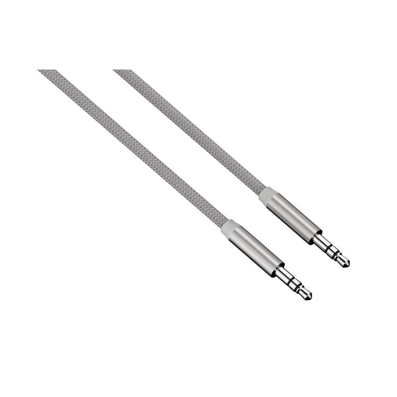 Cablu audio ColorLine Hama, jack 3.5 mm, 1 m, Argintiu