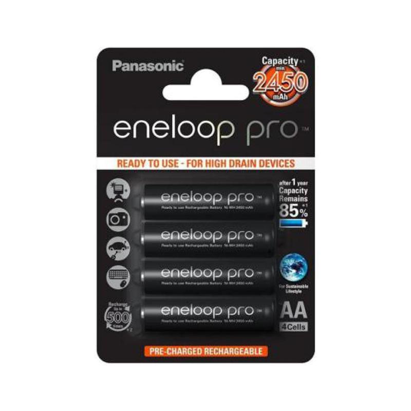 Acumulatori NiMH 4xAA Eneloop Pro Panasonic, 2450 mAh