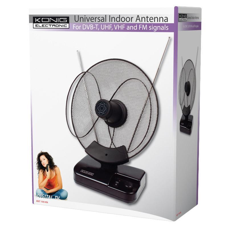 Antena interior TV radio Konig, amplificator incorporat