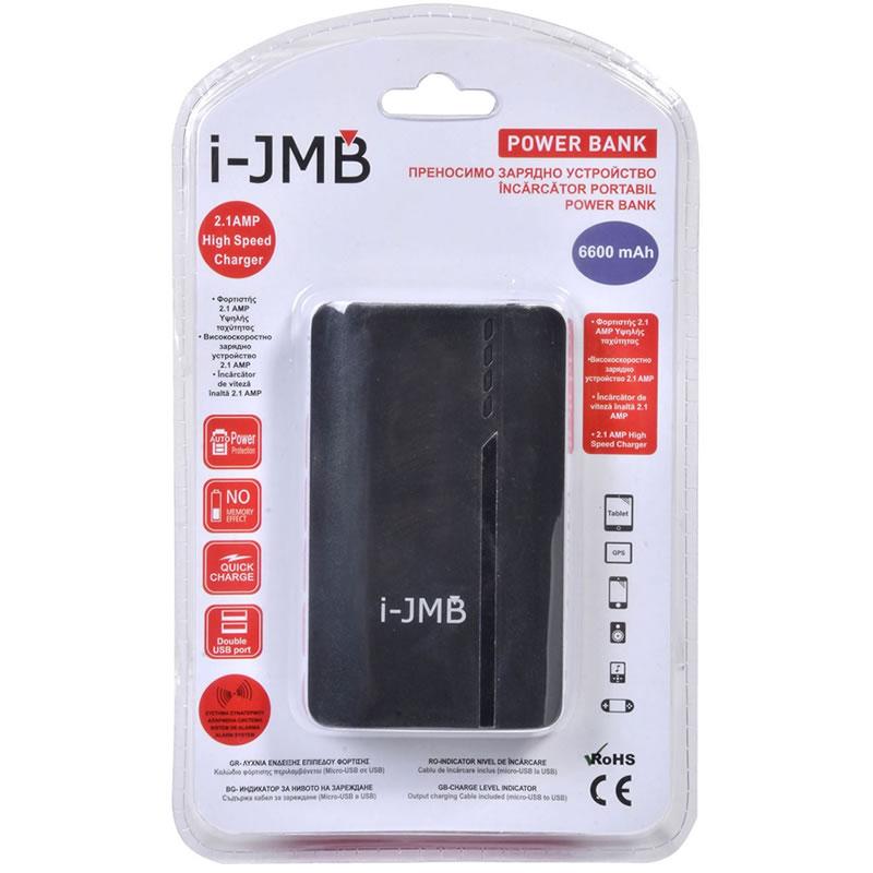 Acumulator Powerbank JBM, 6600 mAh, 2 porturi, negru