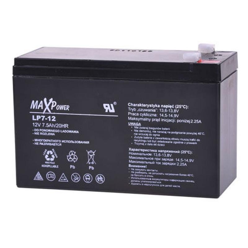 Acumulator stationar SLA MaxPower, 12 V, 7.5 Ah