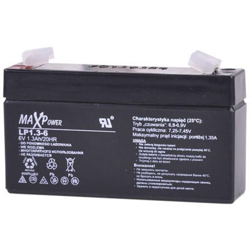 Acumulator stationar SLA MaxPower, 6 V, 1.3 Ah 2021 shopu.ro