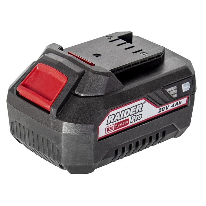 Acumulator Raider, 20 V, 4 Ah, Li-Ion, afisaj stare baterie