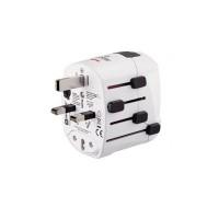Adaptor priza World Pro USB Hama, 3 pini, alb