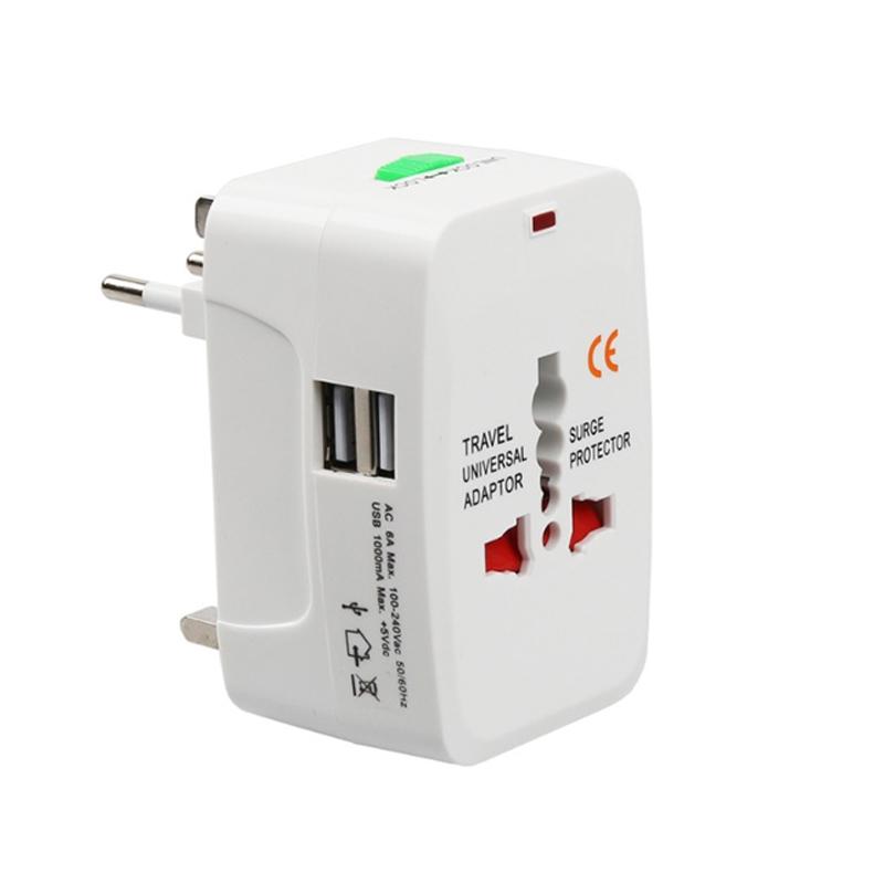 Adaptor priza universal, 1000 mA, 2 x USB, indicator led 2021 shopu.ro