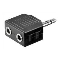Adaptor audio Goobay, jack stereo 3.5 mm tata, 2 x jack stereo 3.5 mm mama, Negru