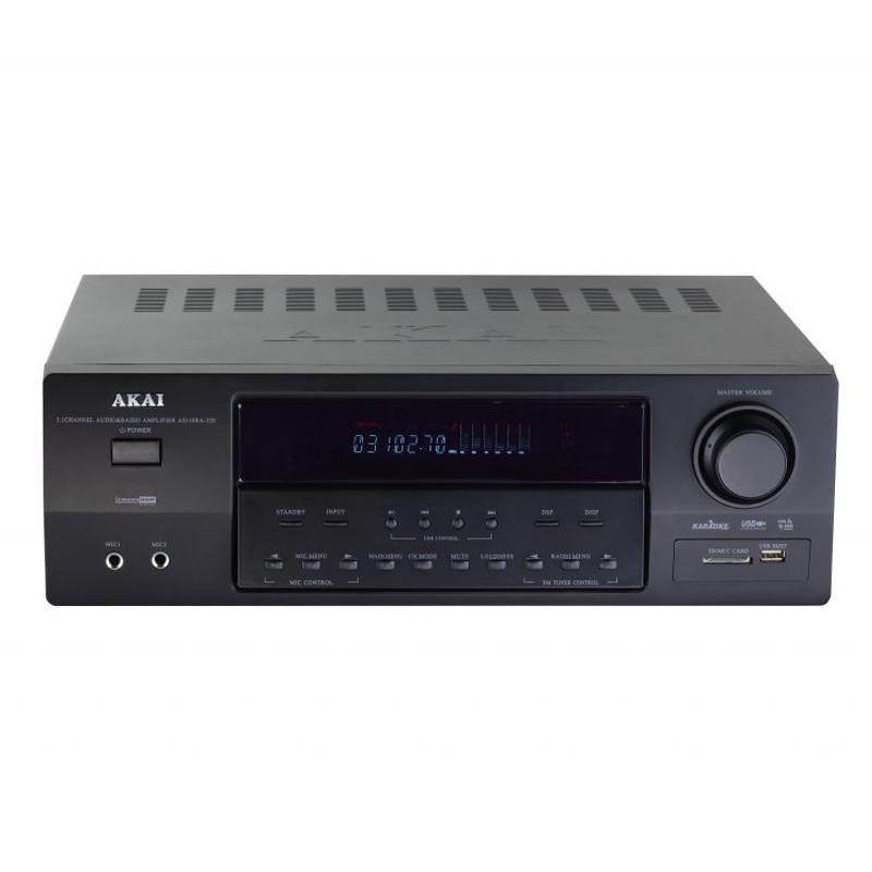 Amplificator Bluetooth 5.1 Akai, 90 W RMS, radio FM, afisaj VFD, 7 efecte, telecomanda, Negru 2021 shopu.ro