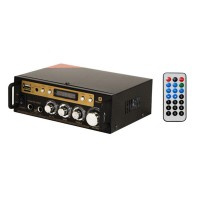 Amplificator audio Bluetooth, 2 x 30 W RMS, USB, microSD, 2 x intrare microfon, display digital