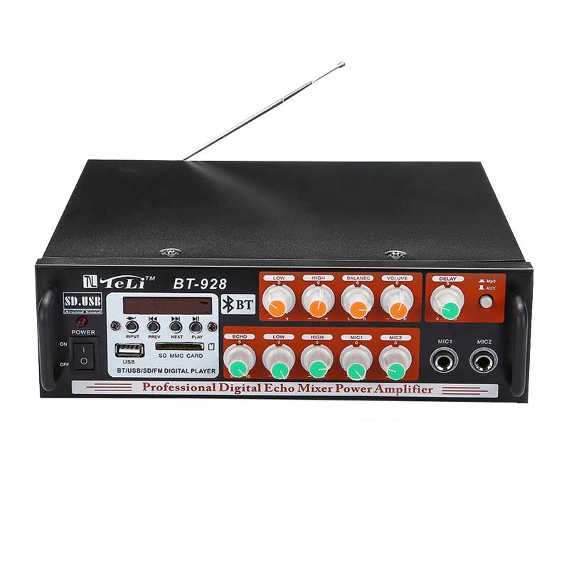 Amplificator bluetooth Teli BT-928, USB, 2 canale, FM radio, SD card, telecomanda inclusa 2021 shopu.ro