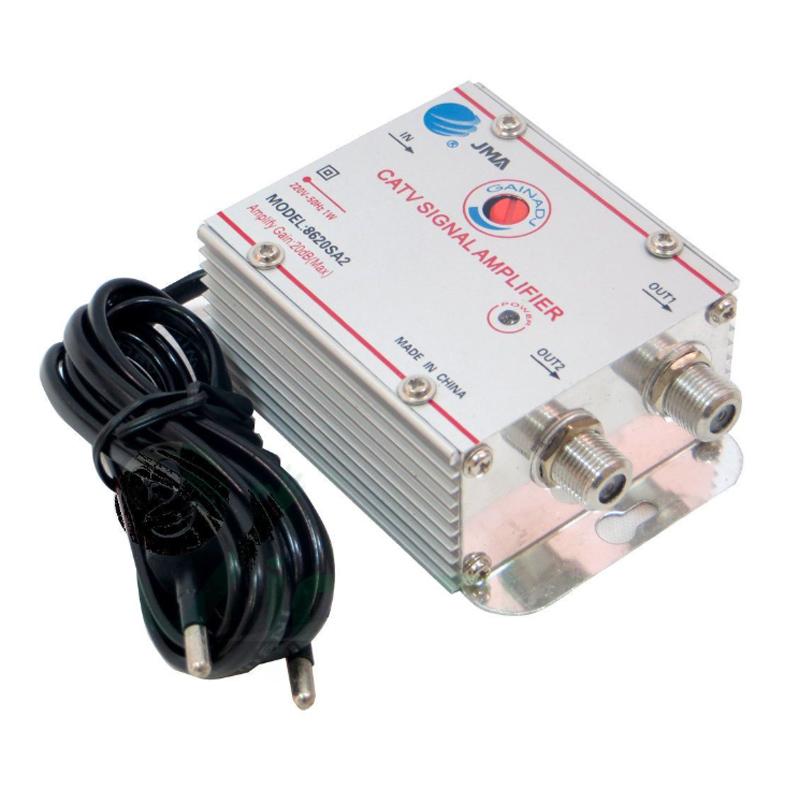Amplificator cablu TV JMA, splitter 2 iesiri, LED, 20 dB, carcasa aluminiu 2021 shopu.ro