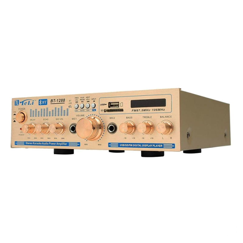 Amplificator bluetooth BT-1288, USB, suport SD, telecomanda 2021 shopu.ro