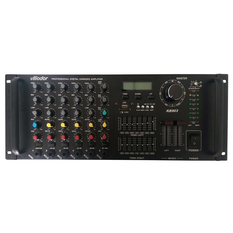 Amplificator profesional Vlliodor, 2 x 350 W, 6 iesiri microfon, egalizator, 2 ventilatoare 2021 shopu.ro