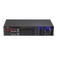 Amplificator profesional tip statie NRS, 2 x 100 W, Bluetooth, USB, SD Card, 2 x intrare  microfon, Radio FM
