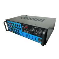 Amplificator profesional tip statie SMC, 2 x 350 W, Bluetooth, USB, SD Card, Radio FM, 4 x intrare microfon