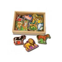 Animale din lemn cu magneti