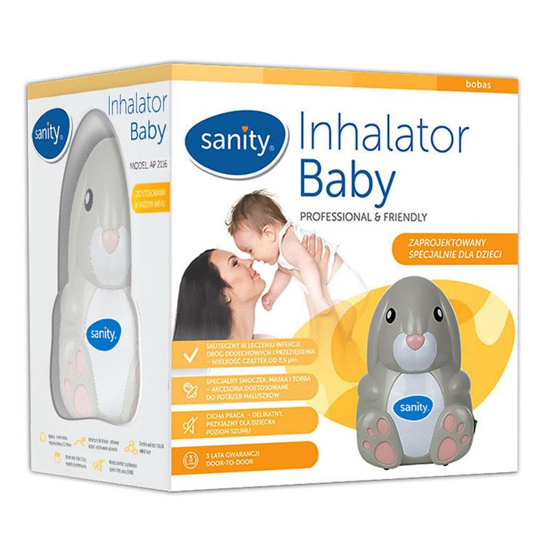 Aparat aerosoli cu compresor Sanity Baby Inhaler, suzeta inhalator inclusa