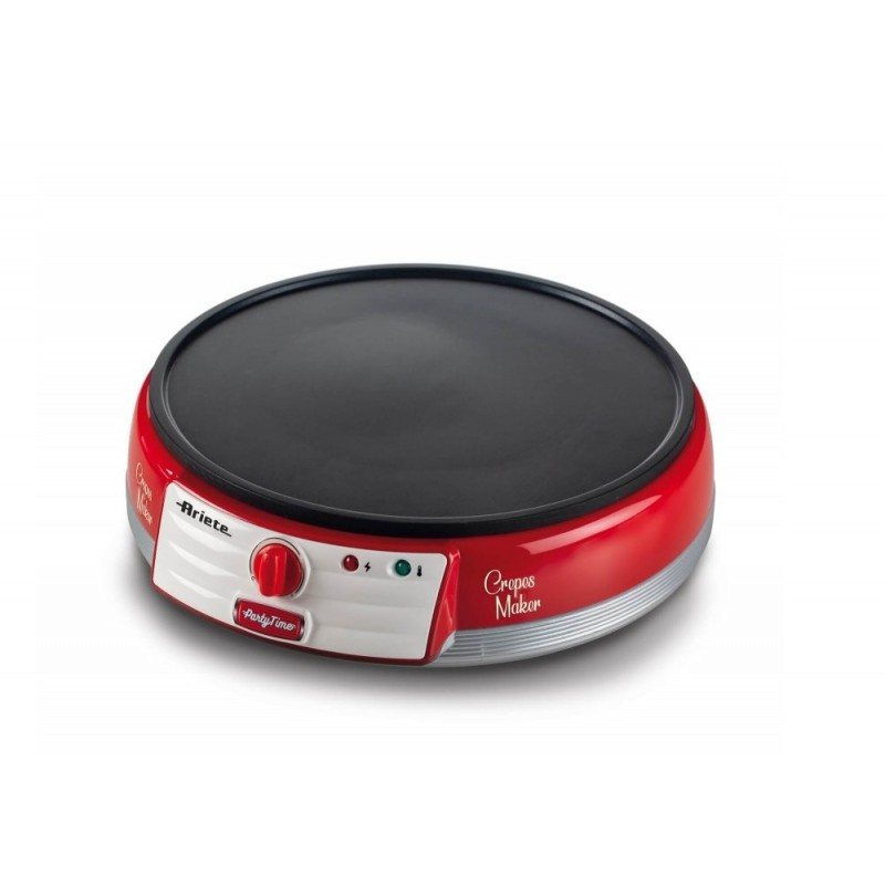 Aparat de preparat clatite Party Time Ariete, 1000 W, termostat reglabil, placi antiaderente, indicator luminos, Rosu 2021 shopu.ro