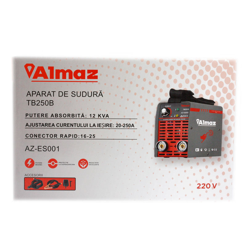 Aparat de sudura Almaz, 250 A, 12 kVA, electrozi 1.6 - 3.2 mm, afisaj analogic, masca de sudura inclusa