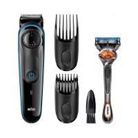 Aparat de tuns barba Braun, 39 setari lungime, 2 piepteni, buton rotativ, aparat de ras Gillette Fusion inclus