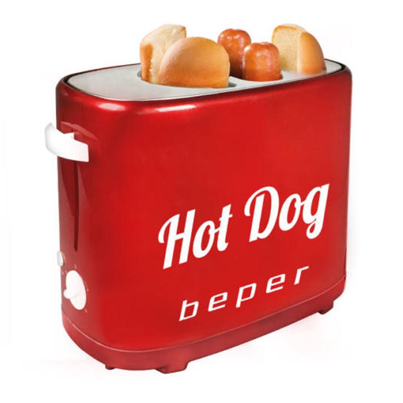 Aparat hot dog Beper, 750 W, 5 niveluri preparare, tava detasabila, design vintage 2021 shopu.ro