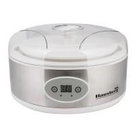 Aparat pentru iaurt Hausberg, 50 W, 1.4 L, 240 V, Control temperatura, semnal sonor, panou digital, aluminiu, Argintiu