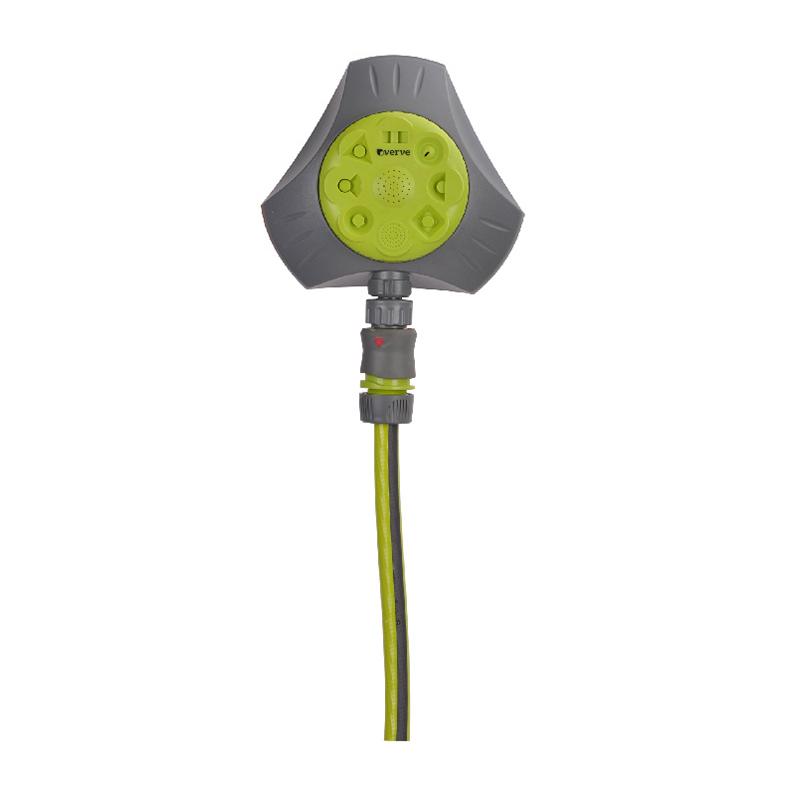 Aspersor multiplu pentru gradina Verve, 7.5 cm, 8 functii, raza actiune 72 mp, plastic, Gri/Verde shopu.ro