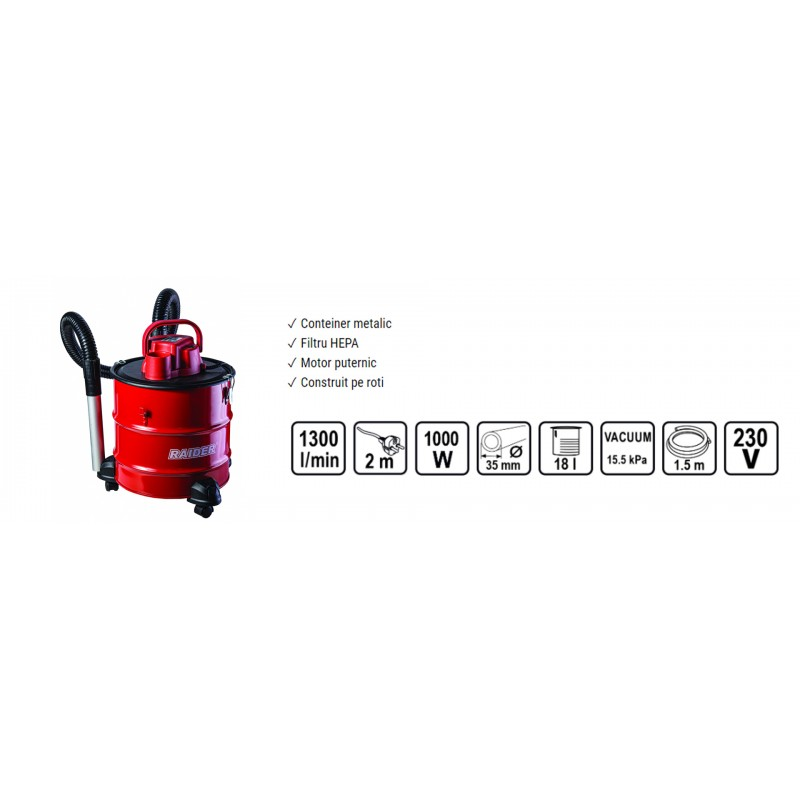 Aspirator pentru cenusa Raider RD-WC05, 1000 W, 18 l, 15.5 kPa, 1300 l/min