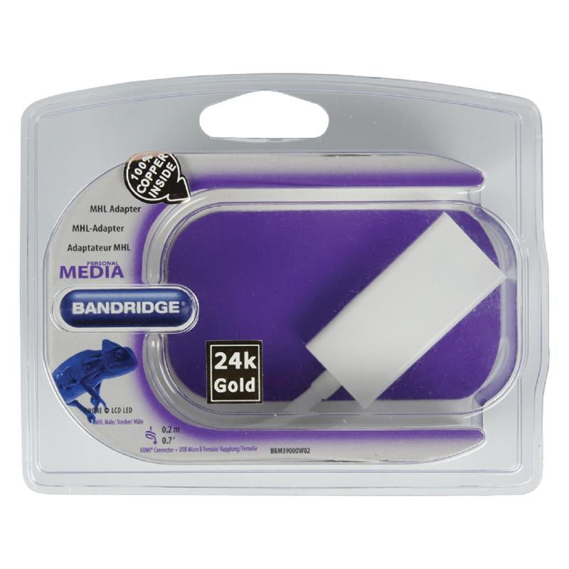 Adaptor MHL-HDMI Bandridge, micro USB-B, 20 cm