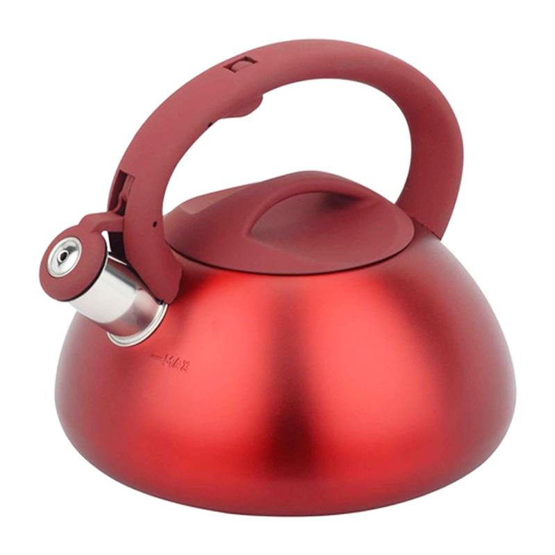 Ceainic inox cu fluier Bohmann, 3 l, Rosu