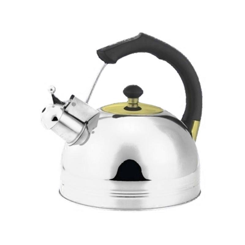Ceainic inox cu fluier Bohmann, 3 l, maner negru 2021 shopu.ro