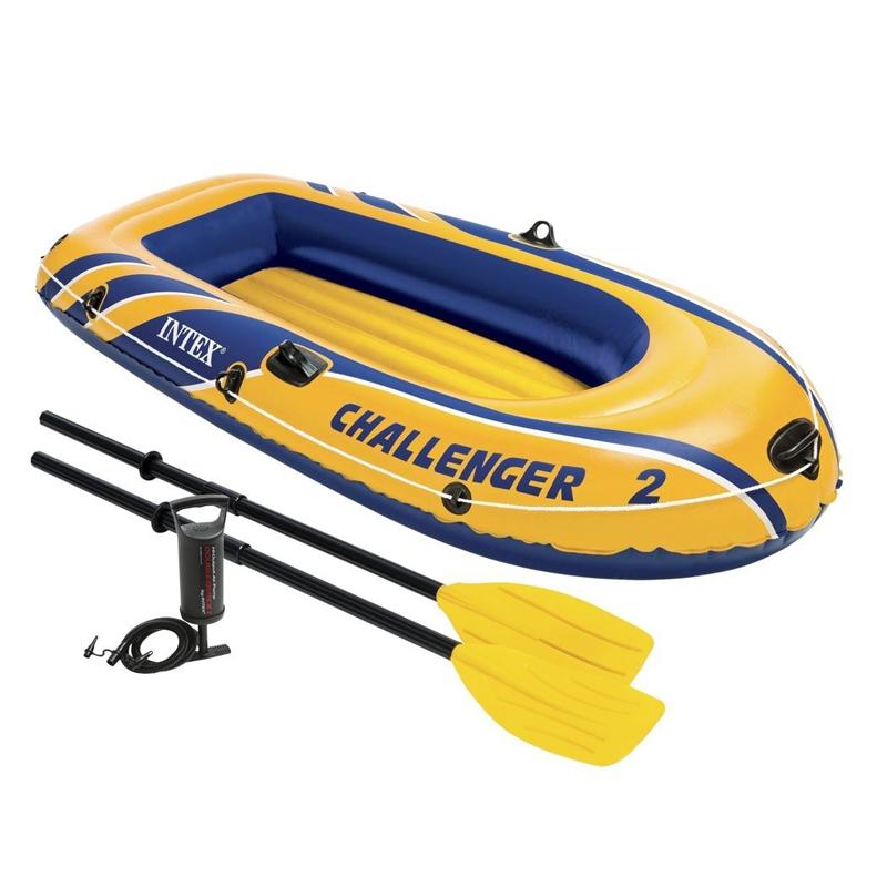 Barca pneumatica 2 persoane Intex Challenger 2, 213 x 114 x 41 cm, pompa inclusa 2021 shopu.ro