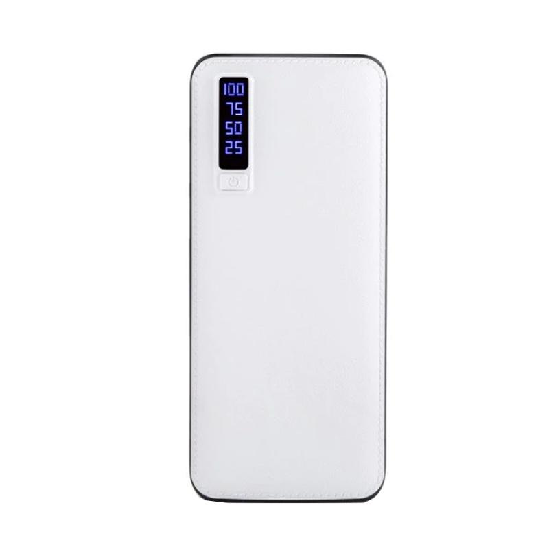 Baterie externa Smart Power Bank, 20000 mAh, 3 x USB, design piele, alb 2021 shopu.ro