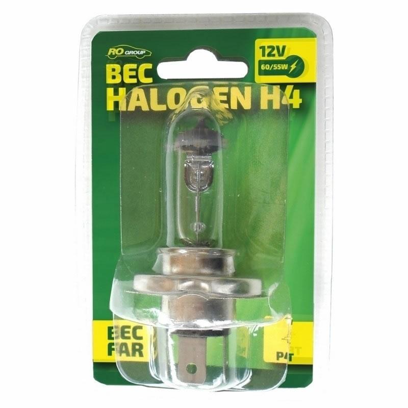 Bec auto cu halogen RoGroup H4, 12V, 55 W 2021 shopu.ro