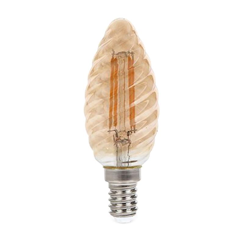 Bec cu filament LED, 4 W, 350 lm, 2200 K, soclu E14, lumina alb cald, forma de lumanare shopu.ro