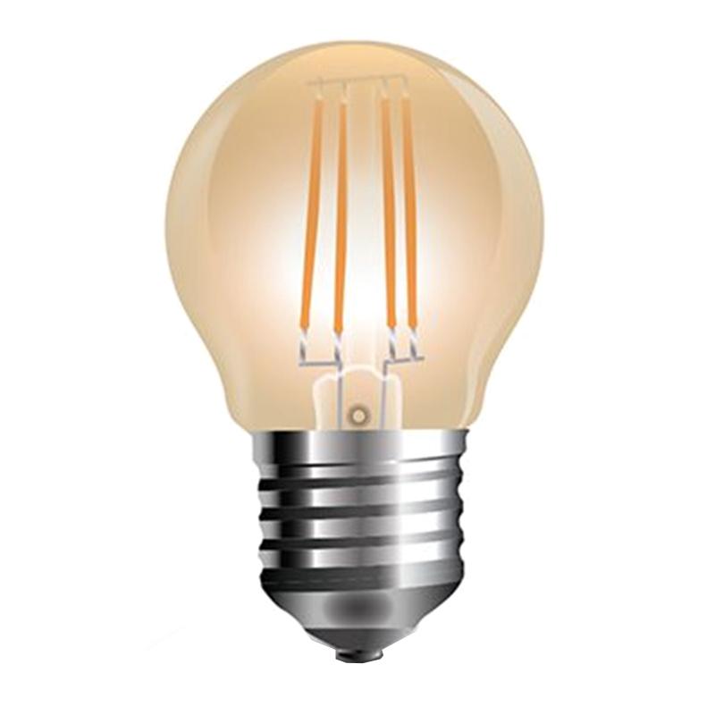 Bec cu filament LED, 4 W, 350 lm, 2200 K, soclu E27, lumina alb cald, forma G45 shopu.ro