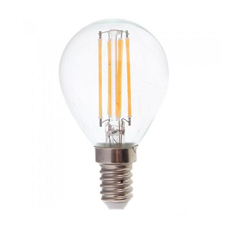 Bec cu filament LED, 4 W, 400 lm, 2700 K, soclu E14, lumina alb cald, forma P45 2021 shopu.ro