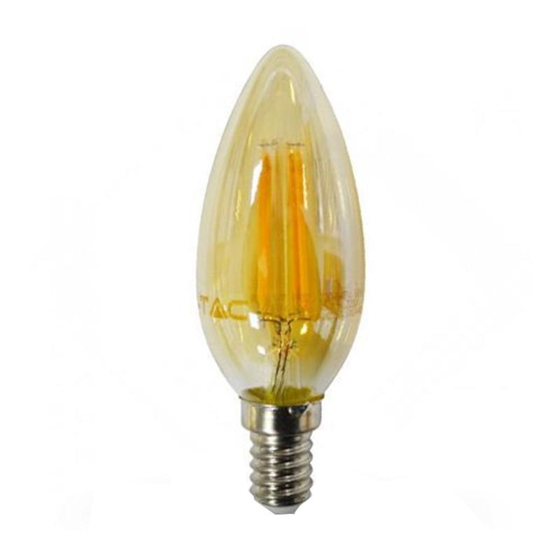Bec economic cu filament LED, 4 W, 400 lm, 2200 K, soclu E14, lumina alb cald, forma lumanare 2021 shopu.ro