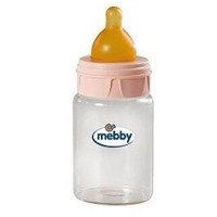 Biberon Mebby Sticla Tetina Latex Pink, 180 ml