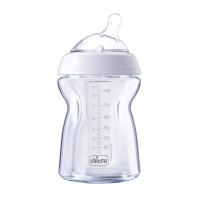 Biberon Natural Feeling PureGlass Chicco, 250 ml, sticla, tetina silicon, flux normal, 0 luni+