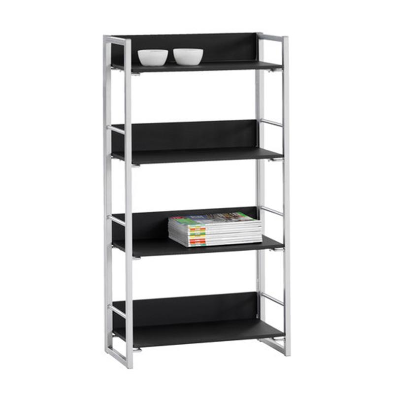 Biblioteca cu 4 rafturi, 61 x 128 x 29 cm, MDF, cadru metal, Negru/Argintiu 2021 shopu.ro