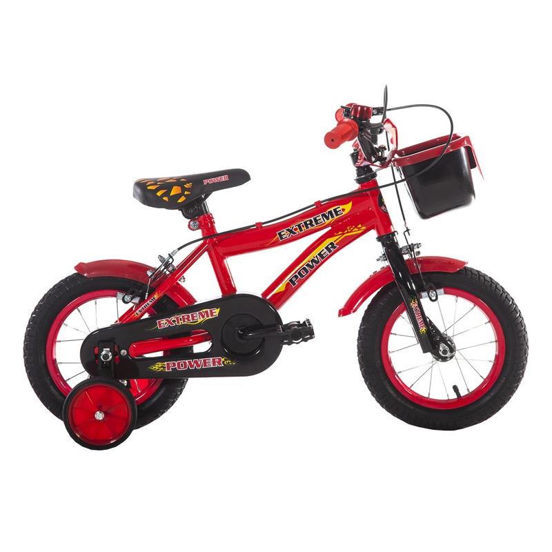 Bicicleta baieti cu roti ajutatoare Extreme Power, 12 inch, 2-5 ani, Negru/Rosu 2021 shopu.ro