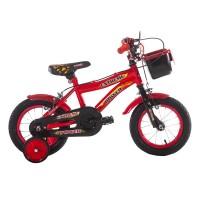 Bicicleta baieti cu roti ajutatoare Extreme Power, 12 inch, 2-5 ani, Negru/Rosu
